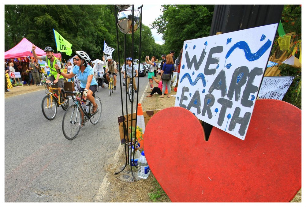 Cyclists at the Balcombe protection camp